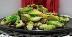 Stir Fried Brussel Sprouts with Bacon & Garlic